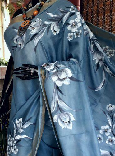 Glamorous grey pure silk
