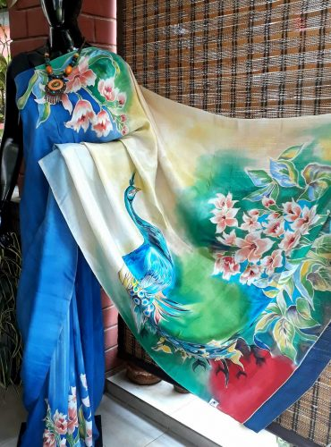 Gorgeous blue pure silk