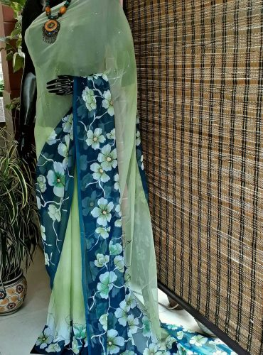 Pure Chiffon floral painting saree