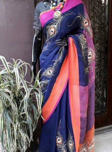 Pure Linen saree in navy blue