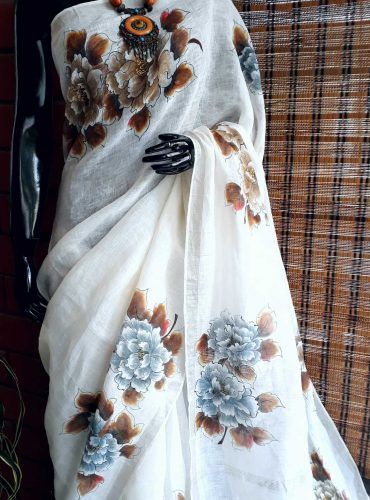 Pure white linen saree