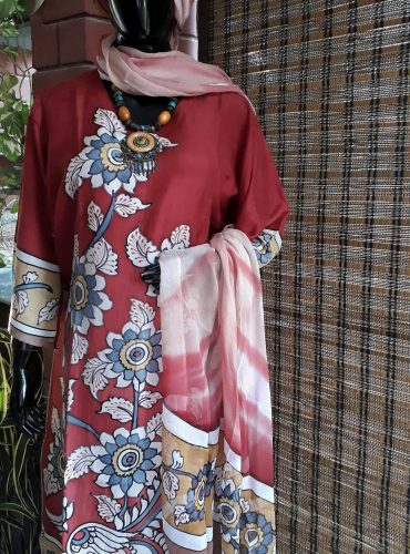 Bright red pure silk kurta