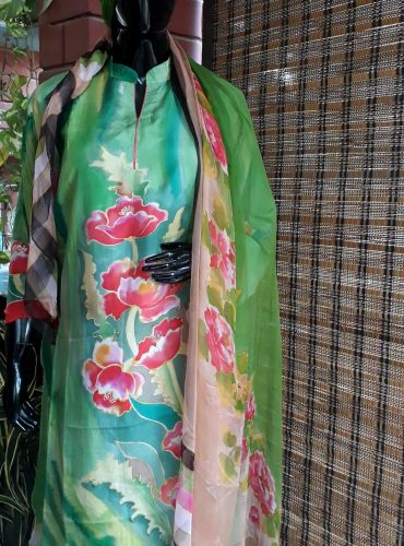 Pure silk green tulips kurta